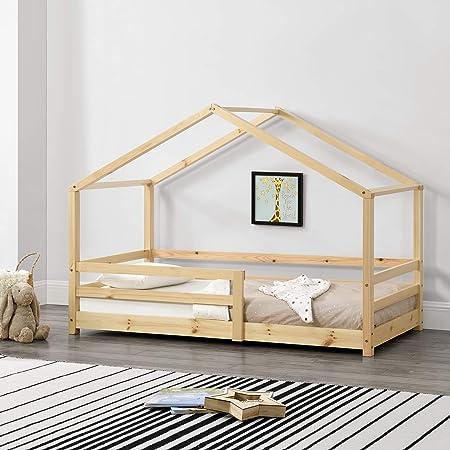 [en.casa] Lit d'enfant Maison avec Barreaux de Sécurité Pin Naturel 80 x 160 cm Bois Naturel