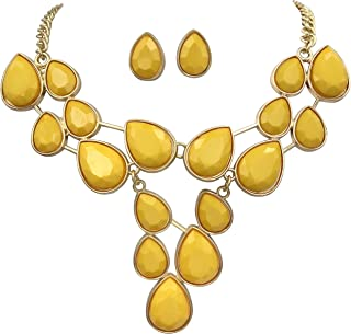 Bright Abstract Bib Statement Boutique Necklace & Earrings Set - Assorted Colors
