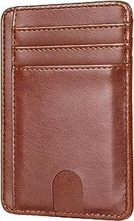Marca Amazon – Hikaro – Cartera de piel fina para tarjetas de crédito, protección RFID, con compartimento para monedas