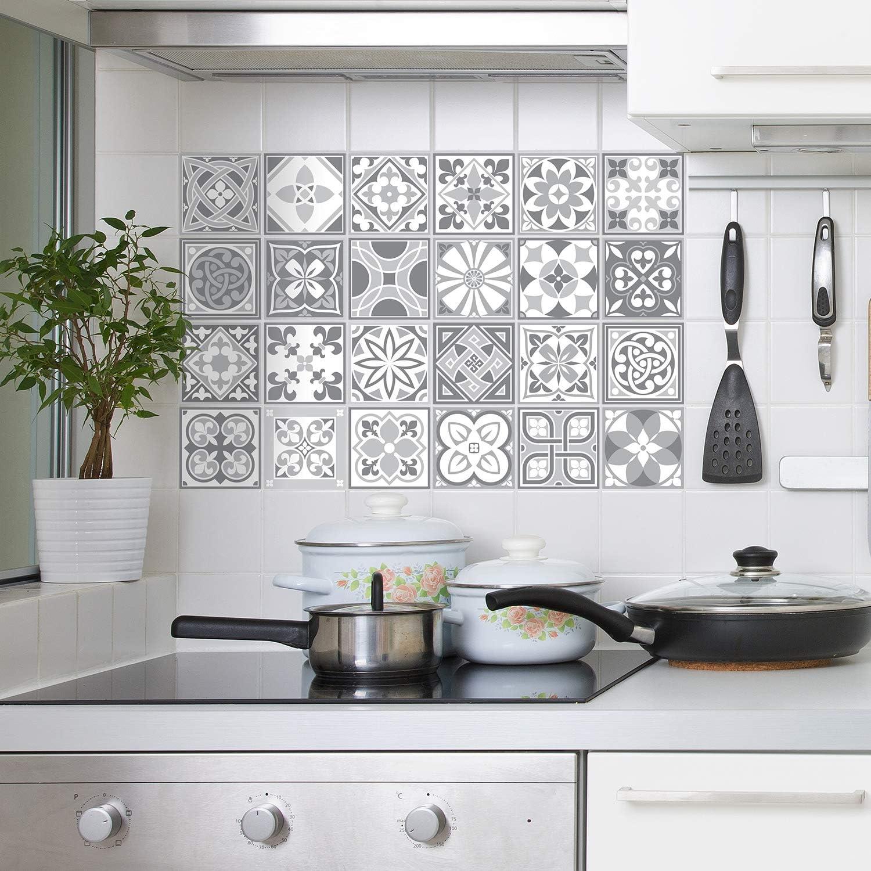 WALPLUS 9cm 9pcs Purbeck Stone Grey Wall Tile Stickers Peel and Stick  Backsplash Self Adhesive Vinyl Home Decoration DIY Living Bedroom  Splashbacks ...