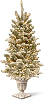 4 Ft. Snowy Sheffield Spruce Entrance Tree with Clear Lights Green Metal Plastic