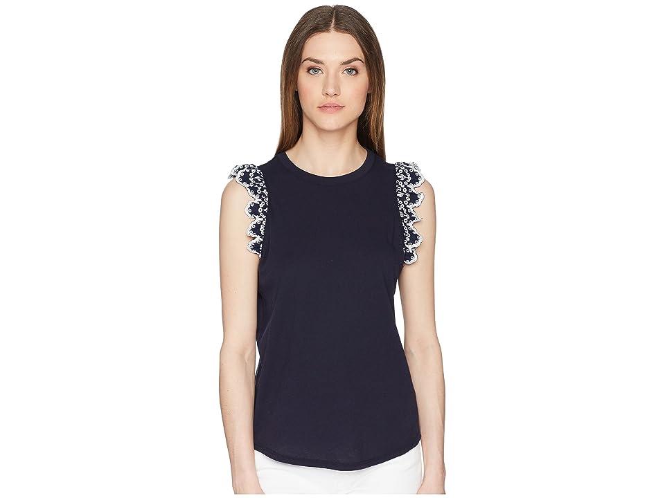 Kate Spade New York Eyelet Sleeveless T-Shirt (Rich Navy) Women