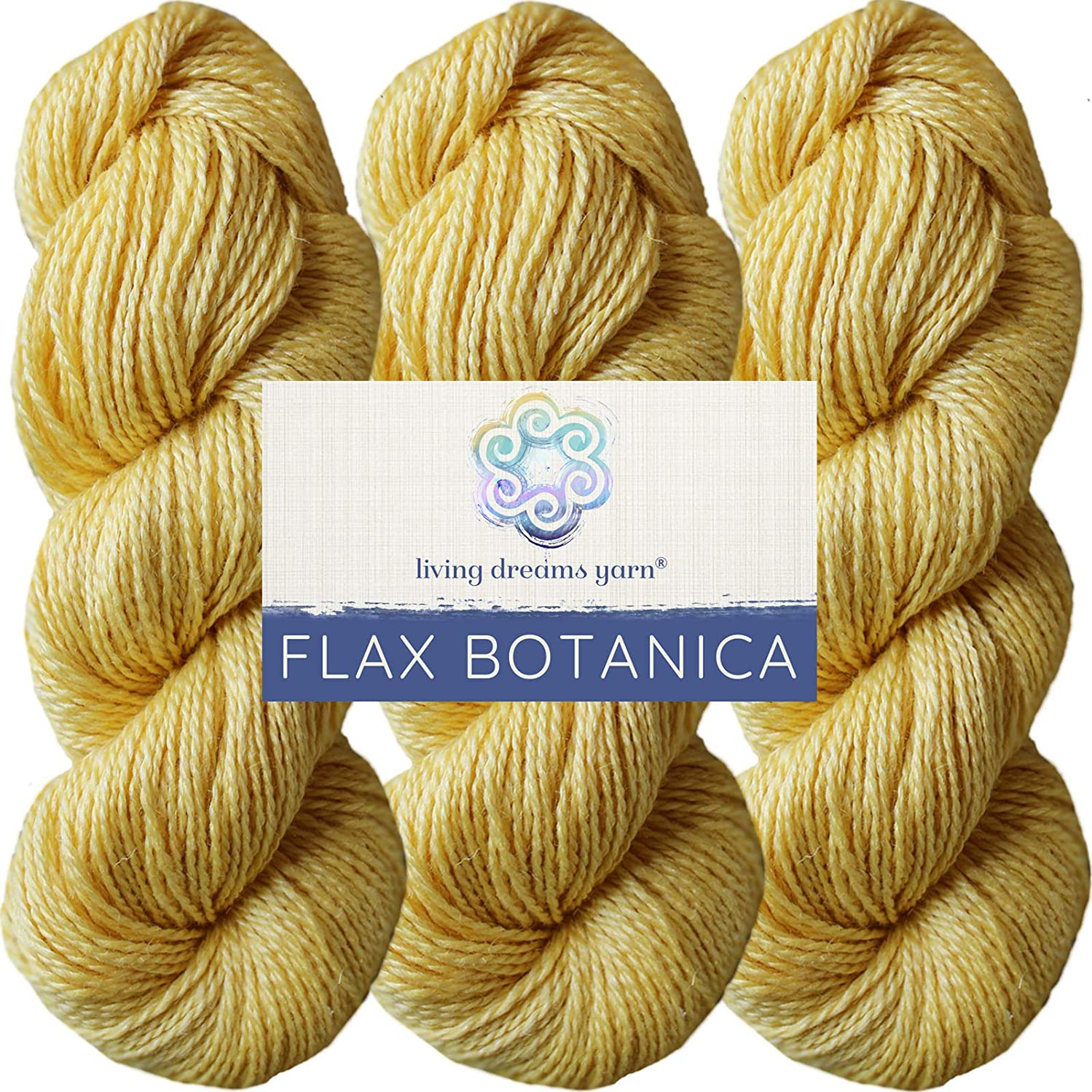 Living Dreams Flax Botanica DK Yarn. Elegant Merino Linen Silk. Cruelty Free & Responsibly Sourced. Pacific Northwest Handmade. Bulk Discount Pack, Maize