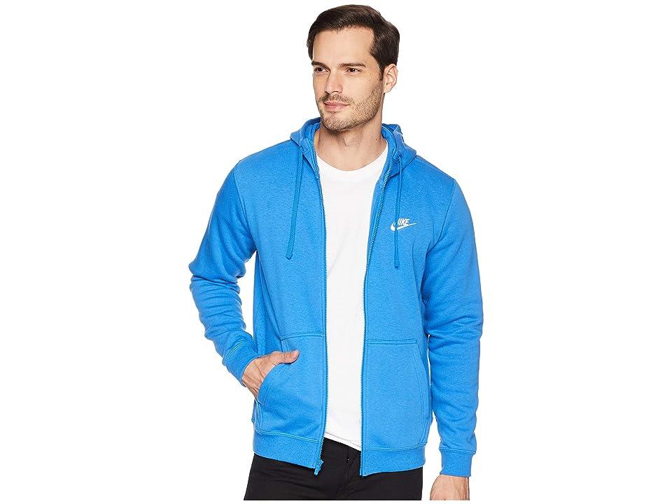 Nike Club Fleece Full-Zip Hoodie (Signal Blue/Signal Blue/White) Men