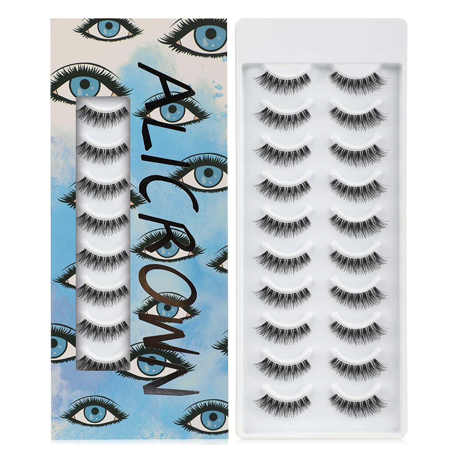 ALICROWN False Eyelashes sold out Outstanding Natural Handmade Lightweight Lashes-BLU