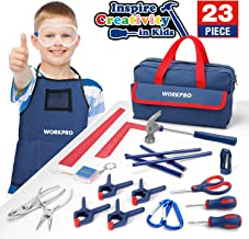 WORKPRO 23-Piece Children's Tool Set with Real Hand Tools, Safety Goggles, Storage Bag for Beginner, Kids Learning - Blue
