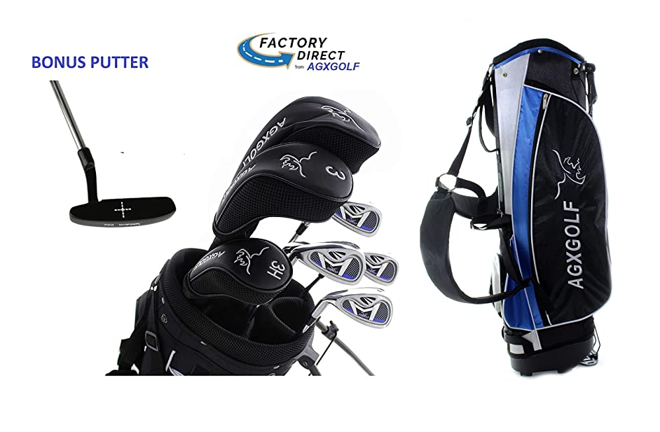 AGXGOLF Ladies Left Hand All Graphite Golf Club Set w/Ladies Stand Bag & Free Putter Petite, Regular or Tall Length; Built in The USA!
