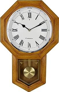 School House Pendulum Wall Clock. Light Wood Finish. Westminster Chime.