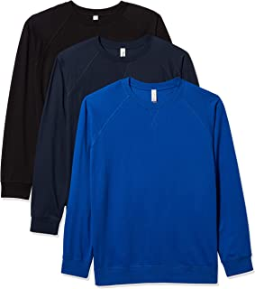 Marky G Apparel Men's French Terry Raglan Long Sleeve Crewneck T-Shirt (Pack of 3)