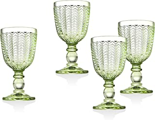 Twill White Wine Goblet Beverage Glass Cup by Godinger - Emerald Green - Set of 4