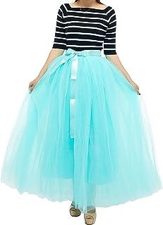 7 طبقات للنساء خصر مرن من التول التنانير بطول يصل إلى الأرض والحفلات المسائية نصف فستان أخضر نعناعي