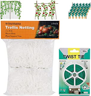 winemana 2 Pack Garden Elastic Trellis Netting, 5 X 30 FT, Heavy-Duty Polyester White with 164 FT Twist Tie, 6 in Mesh Siz...