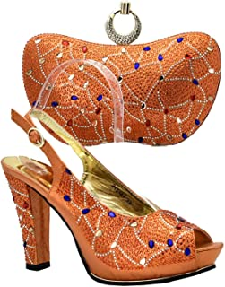 Latest Orange Color Italian Shoes with Matching Bags Nigerian Women Wedding Shoes and Bag Set African Wedding