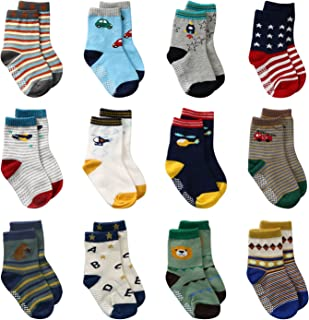 LAISOR 12 Pairs Assorted Non-Skid Ankle Cotton Socks with Grip For Kids Toddlers Baby