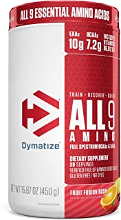 Dymatize All9 Amino, 7.2g of BCAAs, 10g of Full Spectrum Essential Amino Acids Per Serving for Recovery and Optimal Muscle...