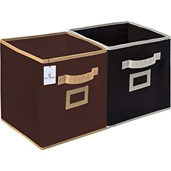 Kuber Industries Non Woven Fabric 2 Pieces Foldable Small Size Storage Cube Toy, Books, Shoes Storage Box with Handle, Extra Small (Brown & Black)-KUBMART1866