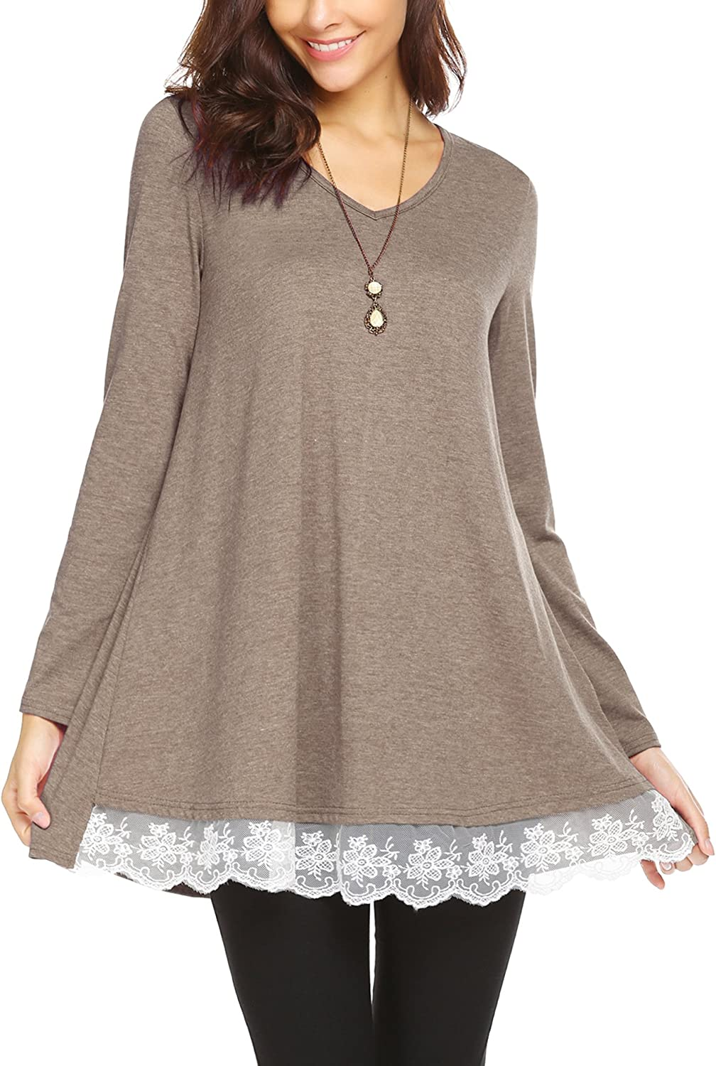 Dealwell Womens Casual Lace Trim Long Sleeve Shirt Loose ALine Tunic Blouse Tops