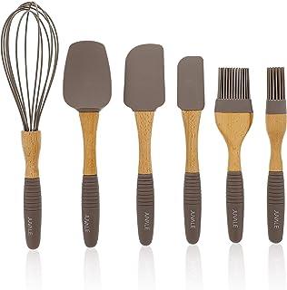 Juvale Baking Utensils Silicone Kitchen Set (6 Piece Set), Wood Handles