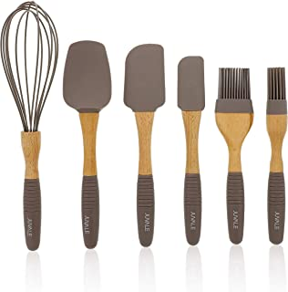 Juvale Baking Utensils Silicone Kitchen Set (6 Piece Set), Wood Handles