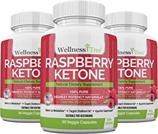 Raspberry Ketones Max Strength 1600mg - Powerful Plant Extracts - Natural Weight Management (3 Pack)