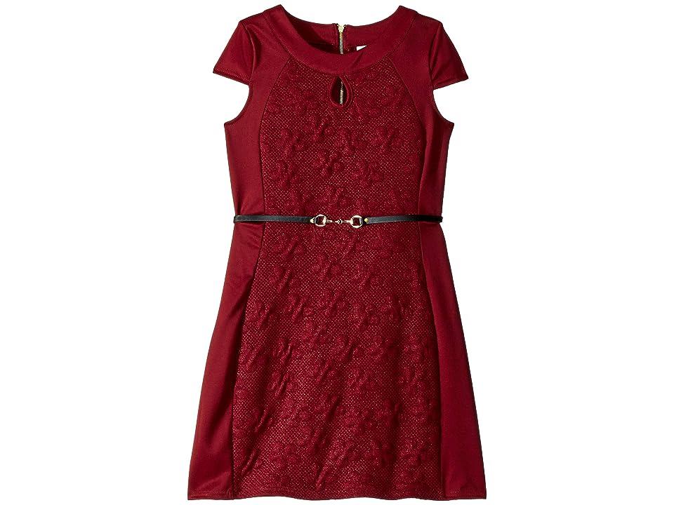 Us Angels Cap Sleeve Bodycon Dress (Big Kids) (Plum) Girl