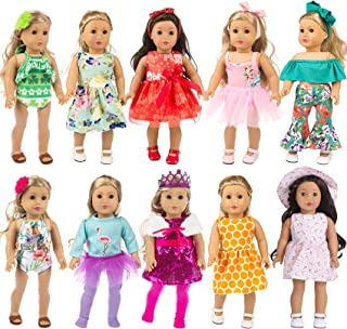 ZITA ELEMENT 24 Pcs American 18 Inch Girl Doll Clothes Dress and Accessories - Including 10 Complete Set of Clothing Outfi...