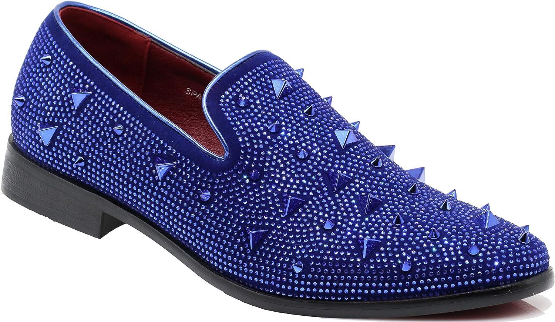 SPK24 Men Vintage Spikes Sparkle Formal Tuxedo Stage Fashion Slip On Loafer Dress Shoes