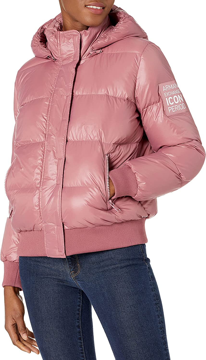 AX Armani Exchange Women's Icon Logo Light-Weighted Puffer Jacket