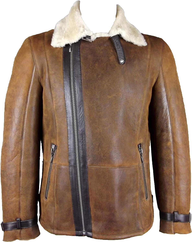 UNICORN Mens Crossed Zipper Coat Antique Brown With Cream Fur Real Leather Jacket  GU