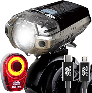 BLITZU Gator 390 USB Rechargeable LED Bike Light Set,...