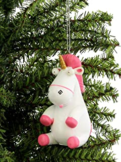 Despicable Me Fluffy Unicorn Kurt Adler Christmas Holiday Ornament Gift Boxed (One Size, White/Pink)