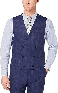 Men's Classic-Fit UltraFlex Blue Plaid Double-Breasted Suit Vest