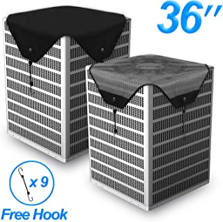 Timechee Air Conditioner Cover All Season,AC Covers for Outside Universal Center AC Unit Winter Waterproof Mesh and Heavy-Duty Tarpaulin Black 2 Pcs 36 x 36