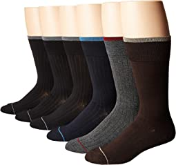 Ecco Socks - 6-Pack Bamboo Solid Dress Socks with Colored Welt and Tipping