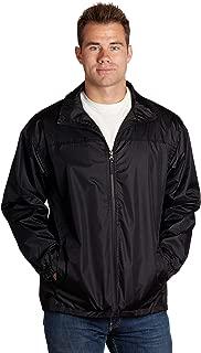 Equipment De Sport USA Men's Lined Wind Resistant/Water Repellent Full Zip Black Windbreaker Jacket (5XL, Black)