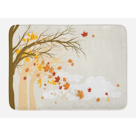 Lunarable Fall Bath Mat Pastel Colored Autumn Trees In The Park With Shedding Leaves Graphic Design Print Plush Bathroom Decor Mat With Non Slip Backing 29 5 X 17 5 Beige Brown Kitchen