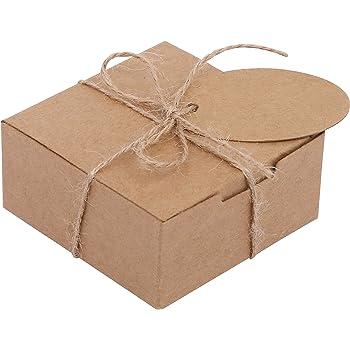 Belle Vous Kraft Cajas de Regalo (Pack de 50) - (7,5x7,5x3,5cm) Kraft Marrón Cajas Regalo Autoensamblables Cuadradas con Etiquetas y Cuerda de Cáñamo para Bodas Presentación Regalos, Fiestas, Dulces: Amazon.es: Oficina y