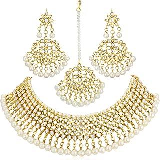 Sukkhi Gold Plated Kundan Pearl Fancy Choker Necklace Set Traditional Jewellery Set with Earrings for Women & Girls (N73519_D1)
