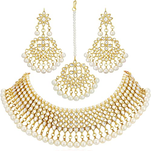 Traditional Pearl Gold Plated Wedding Jewellery Kundan Choker Necklace Set For Women N73519 D1