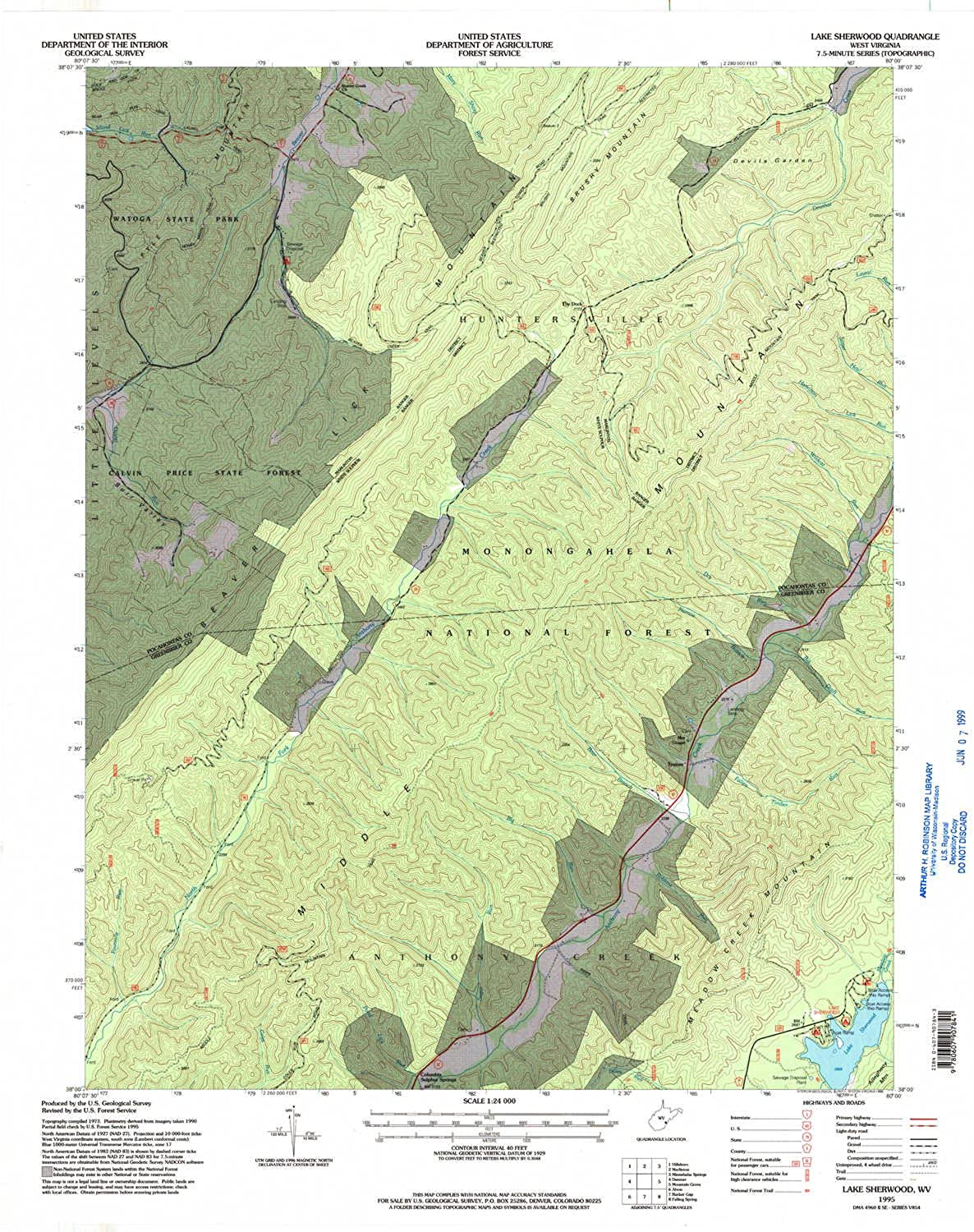 Lake Sherwood WV topo map, 1 24000 Scale, 7.5 X 7.5 Minute, Historical, 1995, Updated 1998, 27.3 x 22 in