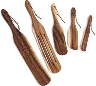DiFrine Wooden Spurtle Set, Heat Resistant Non-Scratch Wooden Utensils for Cooking, 5PC Natural Acacia Wood Kitchen Tools ...