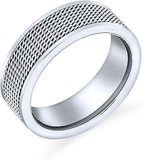 Bling Jewelry Corda Uomini Chain Mail Cavo Maglia Fede Nuziale Anello per Uomini per Donne Il Tono Dell'Argento in Acciaio...