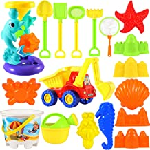 Beach Toys Sand Toys Set - 18 pcs Sandbox Toys for Kids 3-10 with Water Wheel, Big Truck, Bucket, Watering Can, Shovel Too...
