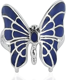 Exotic Graceful Butterfly Simulated Lapis-Lazuli Inlay .925 Sterling Silver Ring