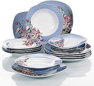 comprar comparacion VEWEET Hannah Juegos de Vajillas 18 Piezas de Porcelana con 6 Platos, 6 Platos Hondos y 6 Platos de Postre para 6 Personas