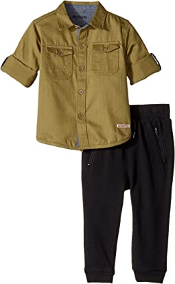 Hudson Kids - Two-Piece Woven Button Down Shirt Fleece Jogger (Infant)