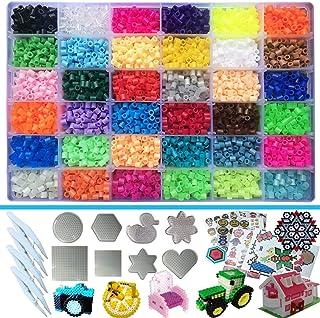 Perles à Repasser 5MM,Perles de fusion,lot de 11100 perles,36 Couleurs(6 brille dans le noir) 8 Perles Repasser Plaques+4 ...