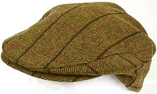 Mens Shooting/Flat/Peak Cap. 100% Pure Wool. Made in Irish Woolen Mill. Brown Check
