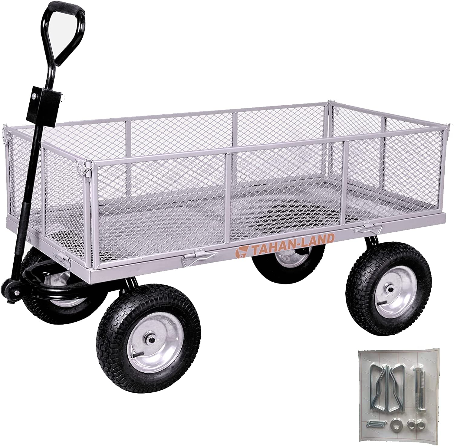 """Utility Heavy-Duty Garden Wagon Cart, Mesh Steel Hand Truck with Removable Folding Sides, 1100-lbs Load Capacity, Grey-51.1"""" x 25.6""""x 6.7"""" inch : Everything Else"""