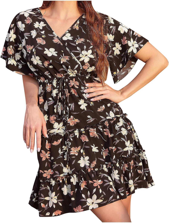 Summer Dresses for Women Floral Graphic Print Beach Dress Short Sleeve V Neck Sundress Casual Ruffle Midi Skirt